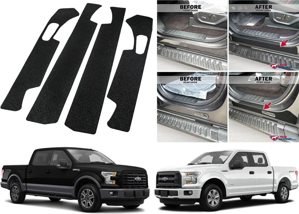 4pc door entry scuff guards for 2015 2017 ford f 150 crew. Black Bedroom Furniture Sets. Home Design Ideas
