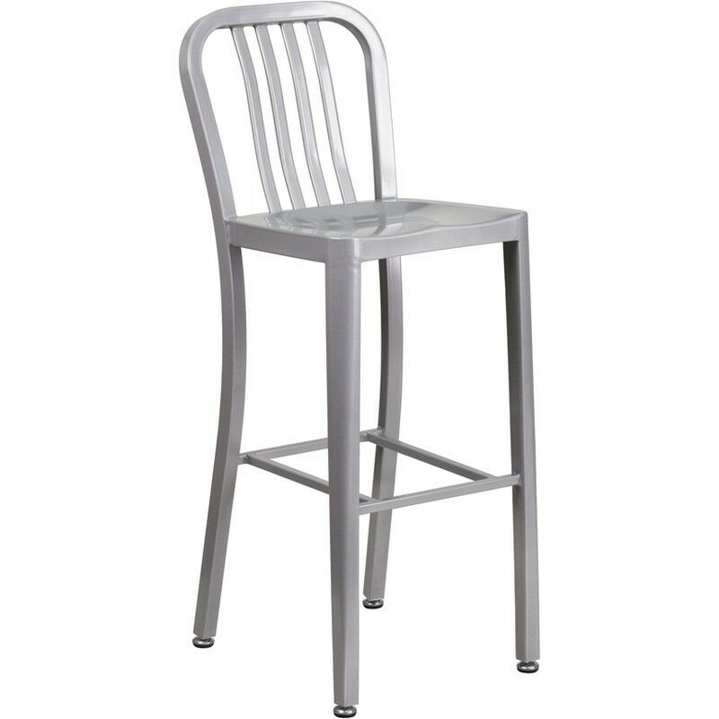 Flash 30 Inch High Silver Metal Indoor Outdoor Barstool With