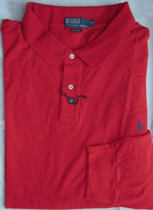 Nwt Polo Ralph Lauren Red Long Sleeve Polo Shirt Sizes Xlt