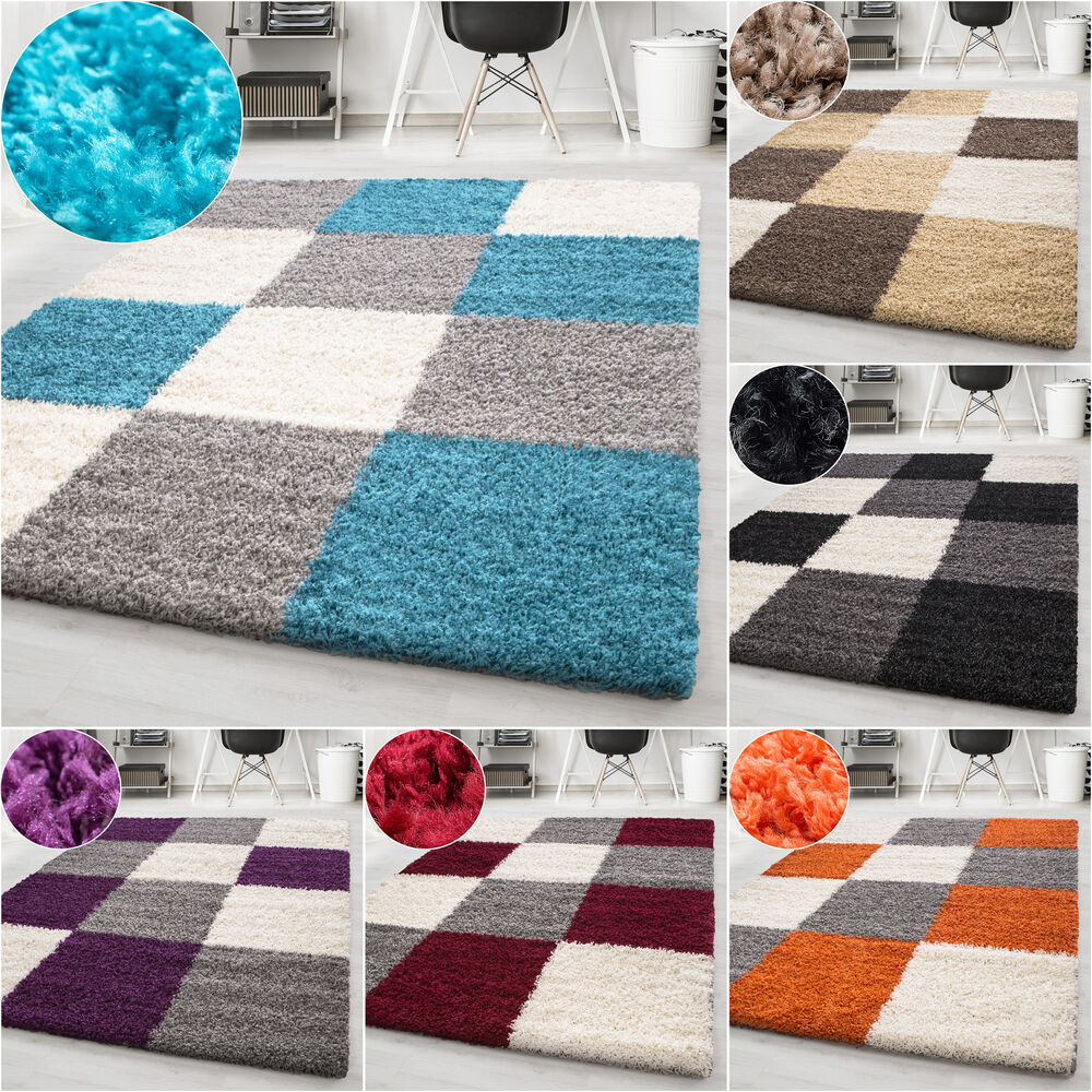 moderne tapis design shaggy tapis longs poils carr tapis de salon pile hauteu ebay. Black Bedroom Furniture Sets. Home Design Ideas