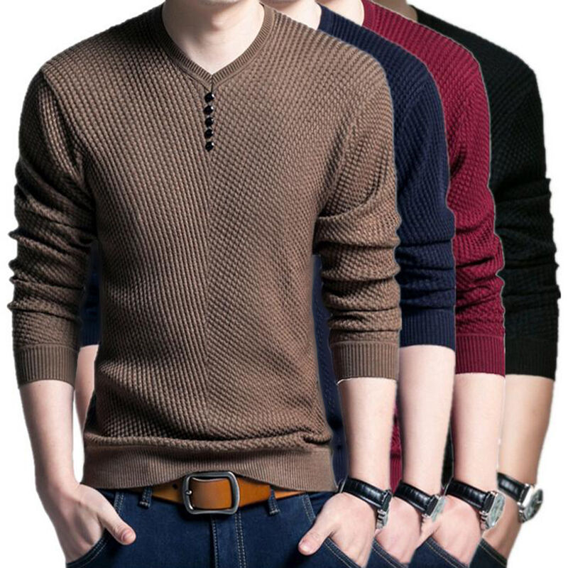 Mens Fashion V Neck Sweater Men Long Sleeve Shirt Sweaters Casual