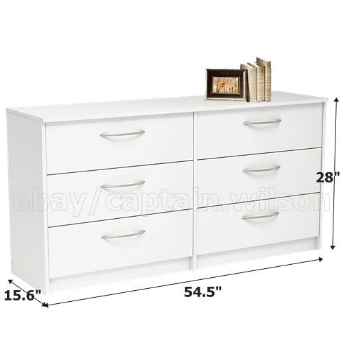 bedroom storage dresser chest double 6 drawer modern white ebay