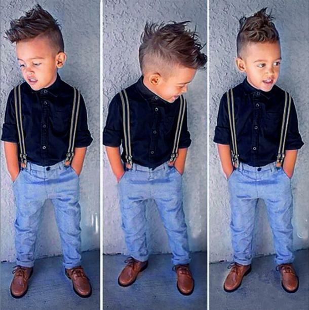 1set Kids Baby Boy Long Sleeves Shirt Top Pants