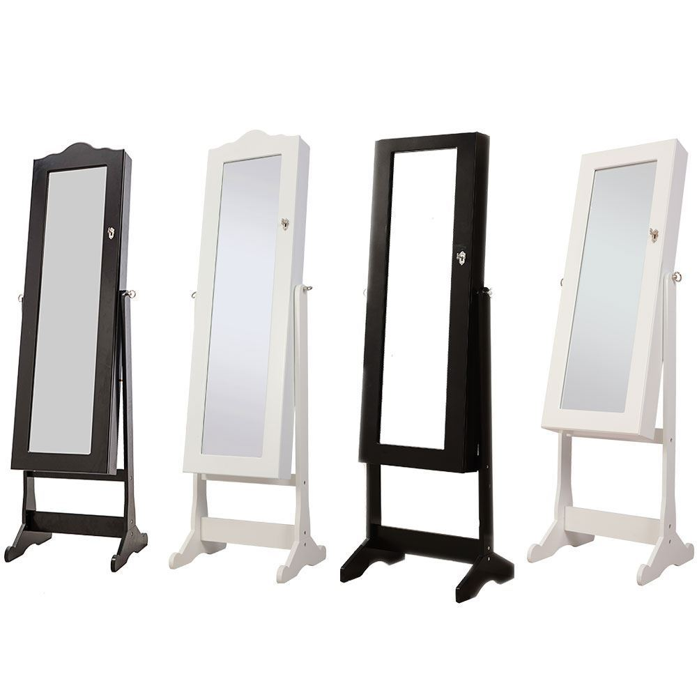 Nishano jewellery cabinet mirror floor free standing for Floor standing mirrored bathroom cabinet