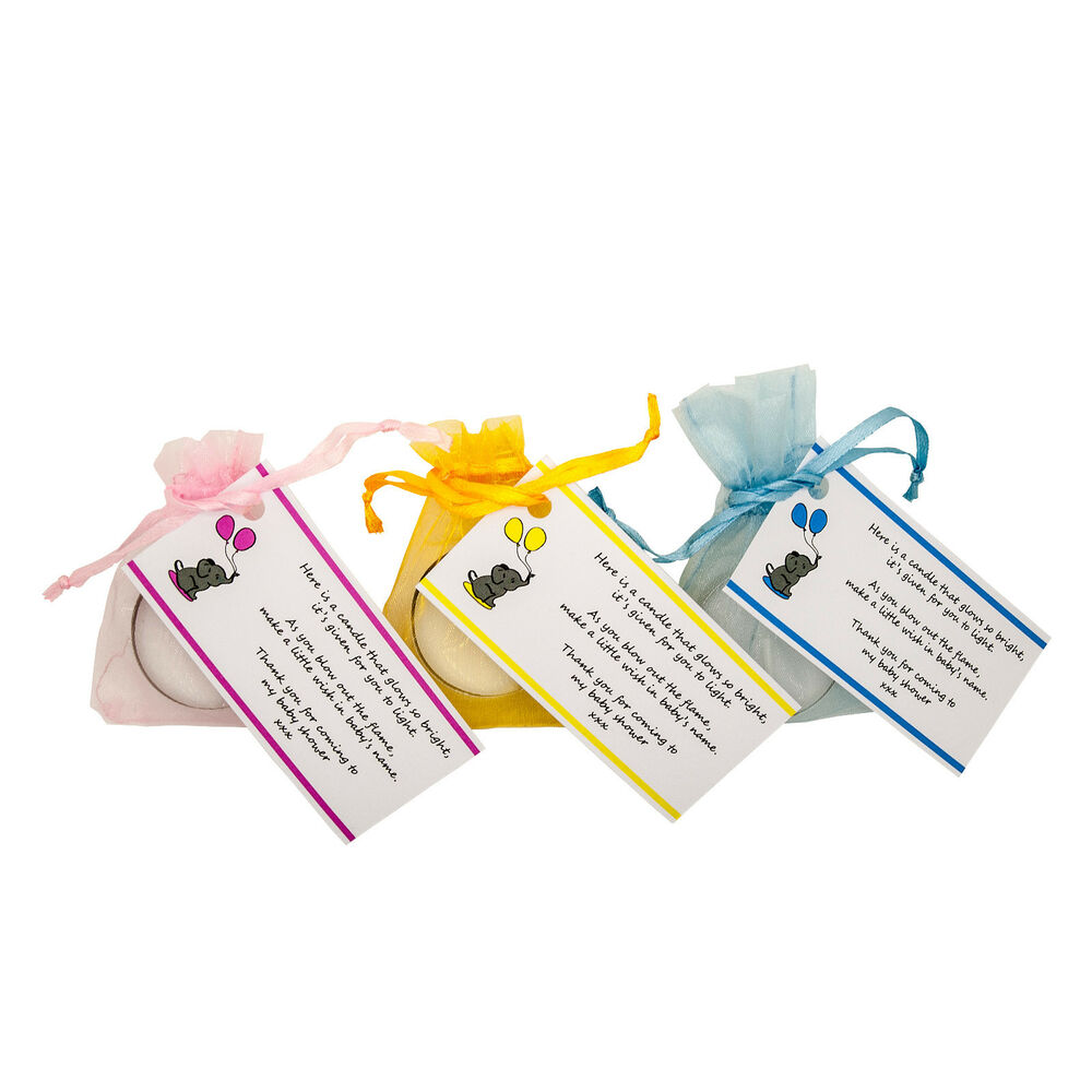 baby shower candle tea light favours blue pink yellow guest thank you
