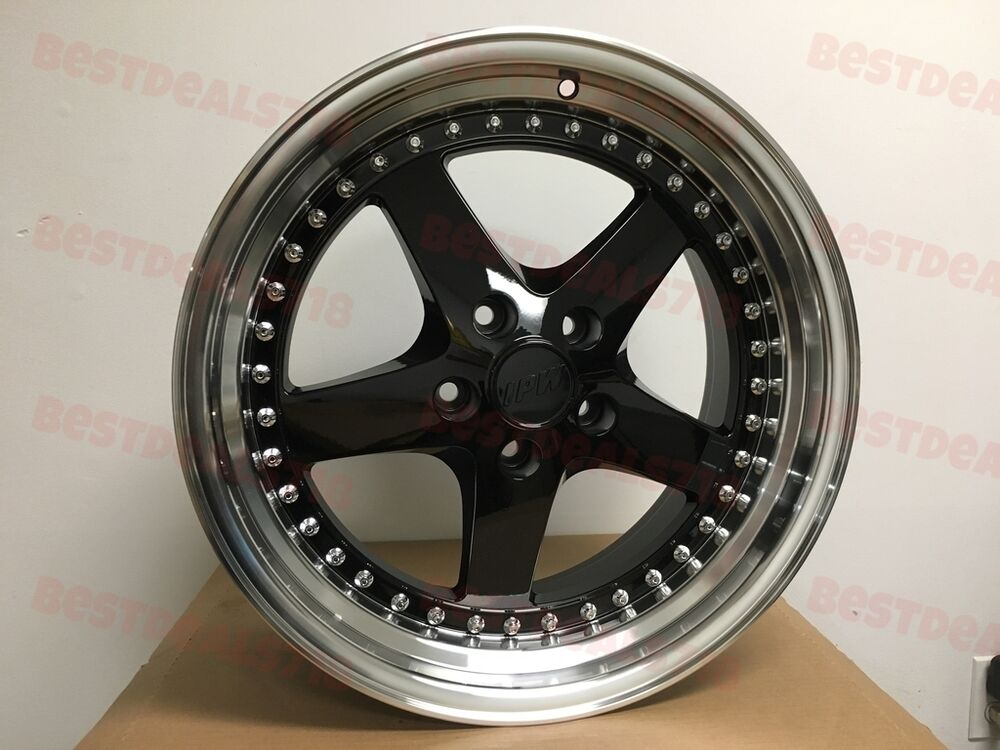 """BMW Rims Style >> 18"""" BLACK EQUIP STYLE RIMS FITS BMW 5X120 STAGGERED 18X8.5/9.5"""" WIDE LIP 