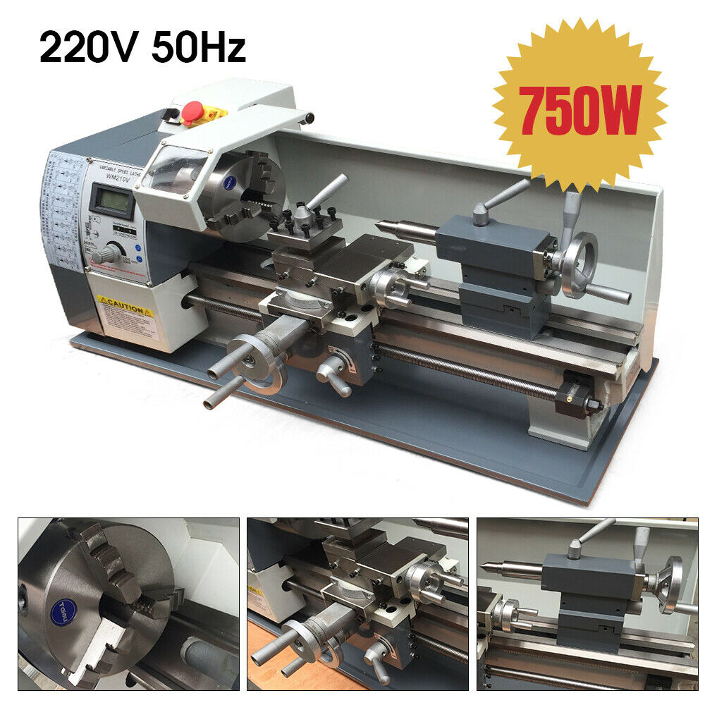 800w Mini Metal Lathe Small Bench Top 8x16 Variable Speed 220v 4 3 Jaw Chuck Ebay
