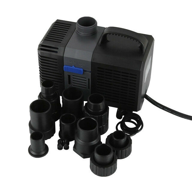 1300 gph pond pump adjustable submersible inline fountain for Submersible pond pump with filter