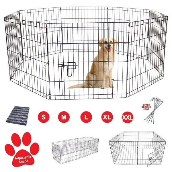 Pet dog pen puppy rabbit foldable playpen indoor outdoor for Dog run cage enclosure