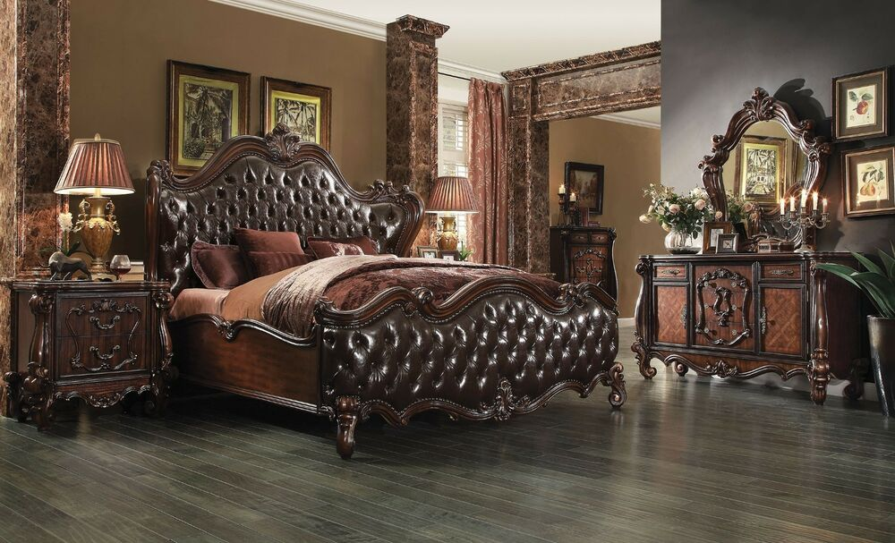Formal Luxury Antique Versailles Cherry Est King Size 4pc Bedroom Set Furniture Ebay