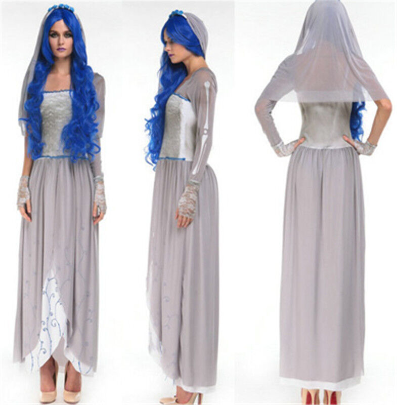 Halloween costume undead corpse bride women dress scary for Corpse bride wedding dress for sale