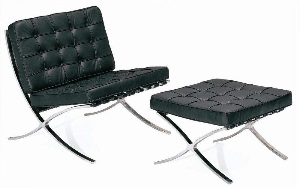 real leather barcelona lounge chair and ottoman stool mies van der rohe ebay. Black Bedroom Furniture Sets. Home Design Ideas