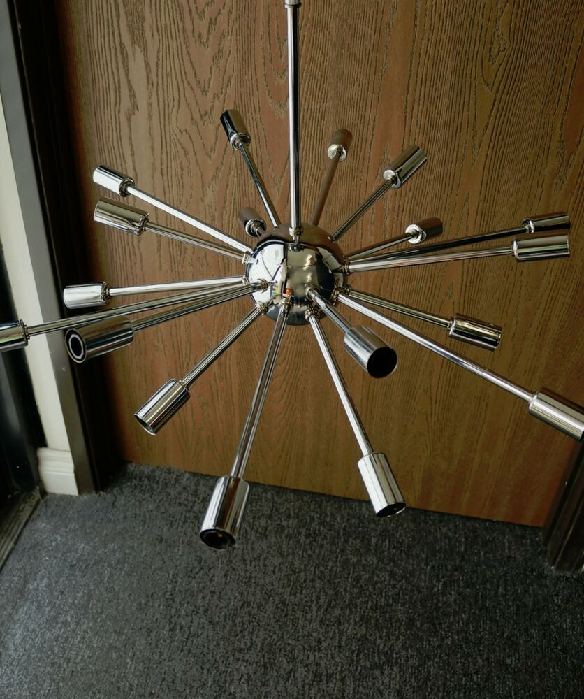 chrome atomic sputnik starburst chandelier mid century. Black Bedroom Furniture Sets. Home Design Ideas