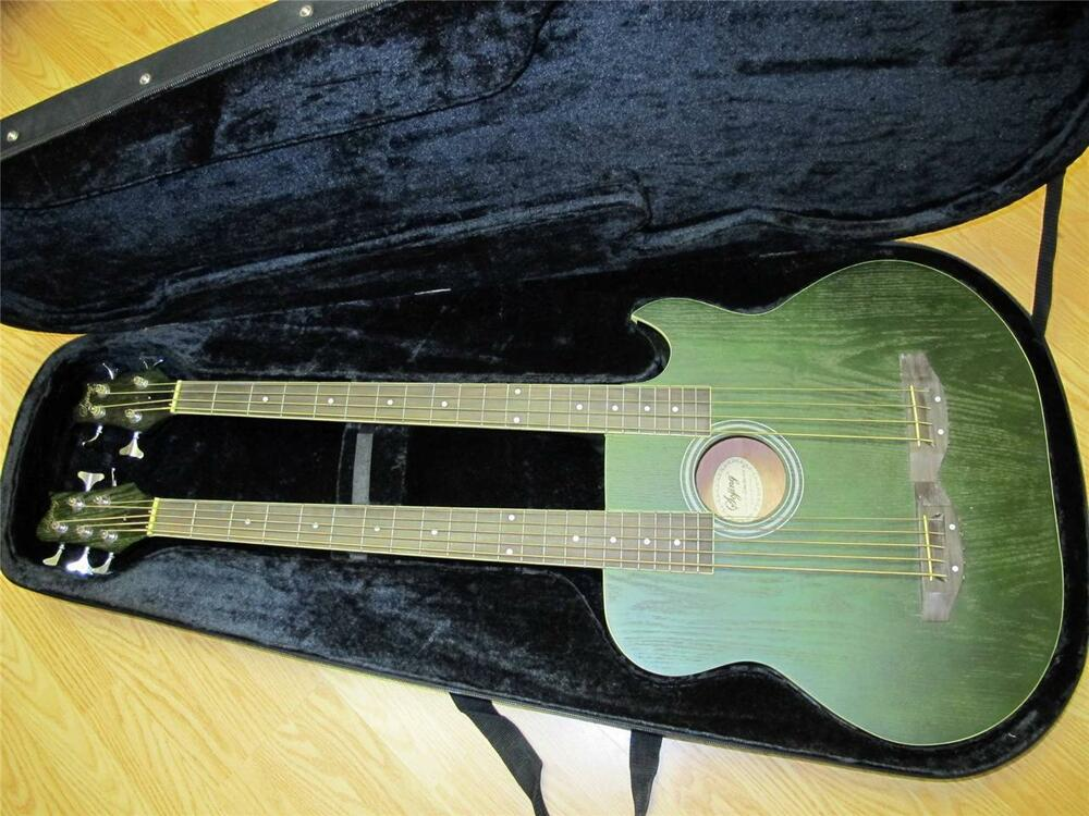 double neck acoustic electric 5 string 4 string bass guitar green with case ebay. Black Bedroom Furniture Sets. Home Design Ideas