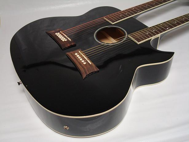 6 12 string acoustic electric double neck guitar cutaway black with case ebay. Black Bedroom Furniture Sets. Home Design Ideas