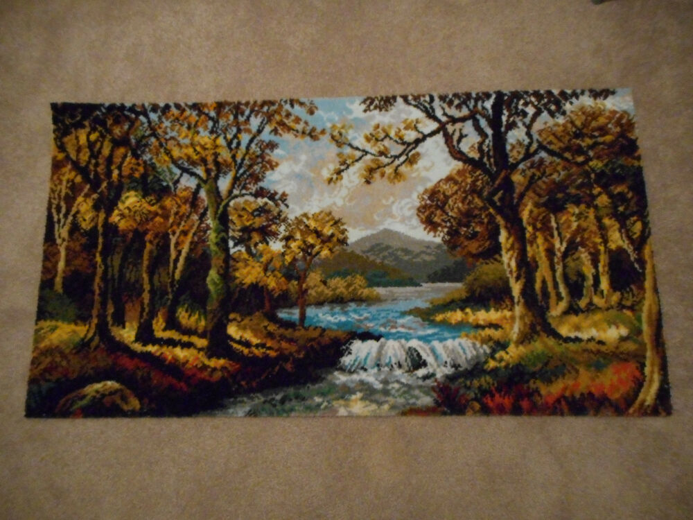 Vintage British Rug Wall Hanging 27 Quot X 51 Quot Autumn Glade