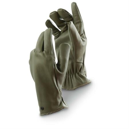img-NEW French Army Military NATO Olive Leather Warm Winter Combat Gloves J1 (RA9)