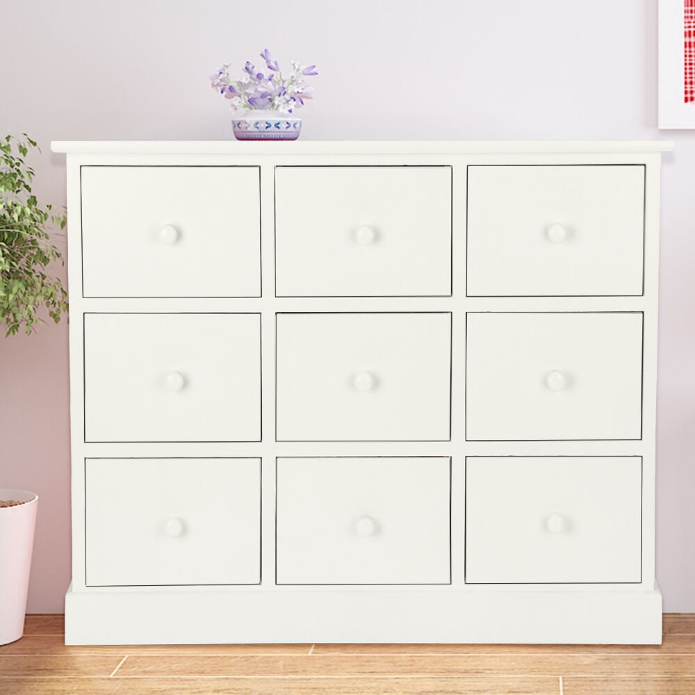 White Chest Of Drawers 9 Bedroom Furniture Unit Wooden Bedside Storage Cabinet Ebay