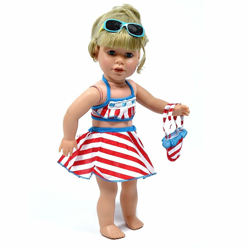 93f946560 Details about 18 Inch Doll Bathing Suit 5 Piece Beach Set Fits 18 Inch and American  Girl Dolls