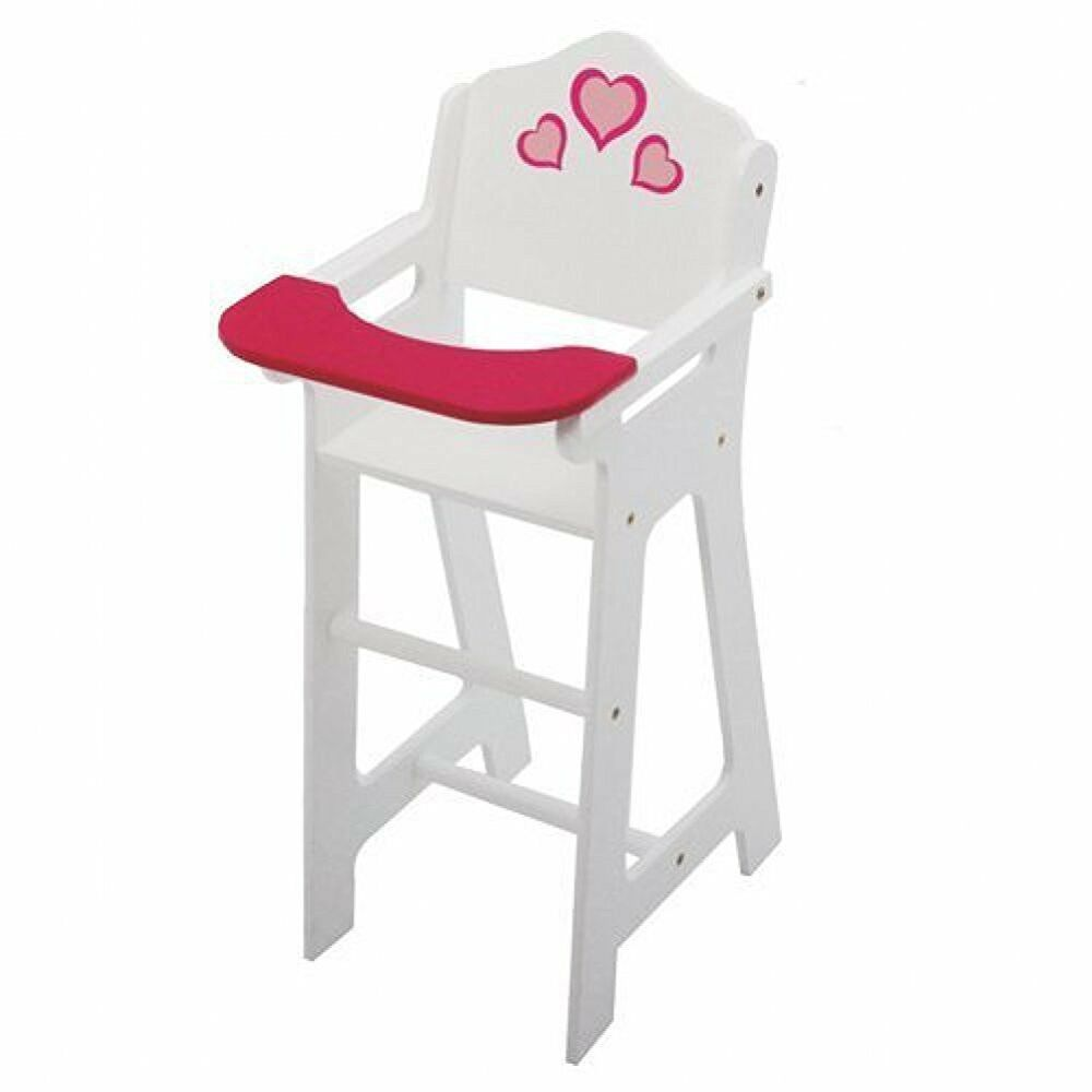 Wooden Doll High Chair With Doll Bib Fits 18 Quot Ebay