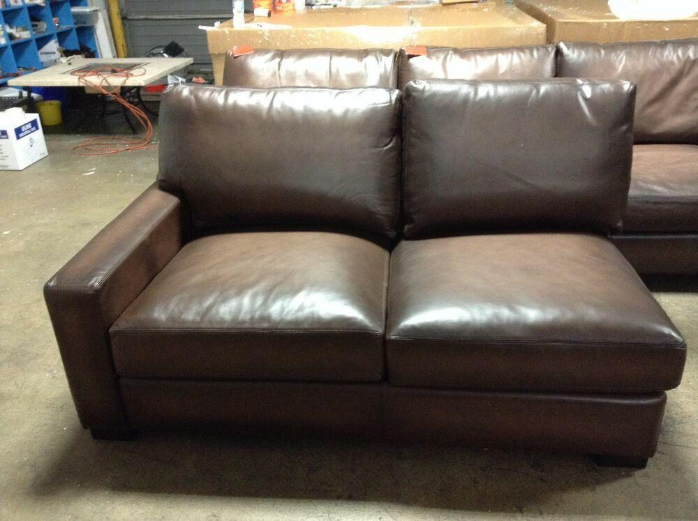 Pottery Barn Turner Leather Sofa Sectional Square Arm Left Loveseat