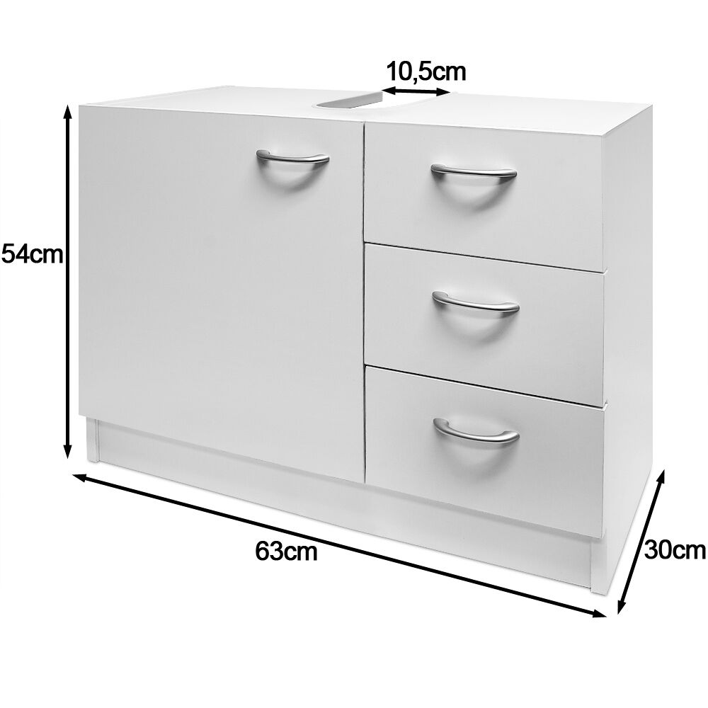 Storage Under Sink Bathroom Cabinet Unit White Cupboard Basin Furniture Shelves