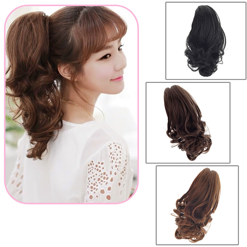 Fashion Women Short Ponytail Wavy Curly Claw Clip In On Hair Extension Hairpiece Ebay