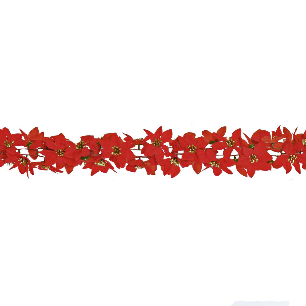 Christmas 6ft garland red poinsettia flowers with glitter for 5ft poinsettia garland christmas decoration