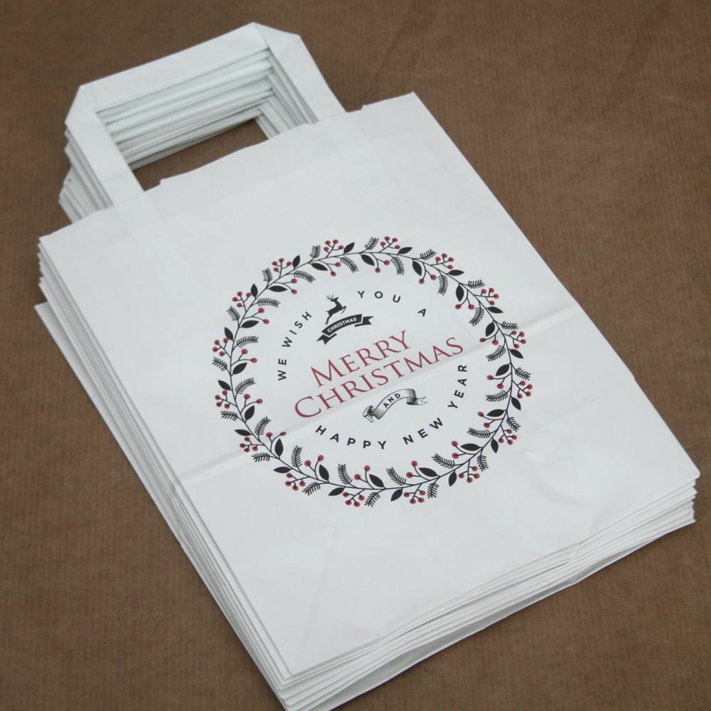 Merry christmas party bags white with handles