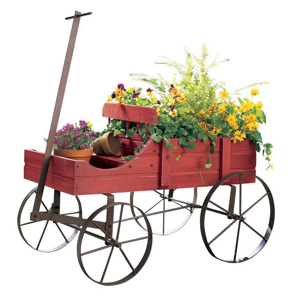 Wooden gardening cart wagon planter rolling flower outdoor for Wooden garden ornaments and accessories
