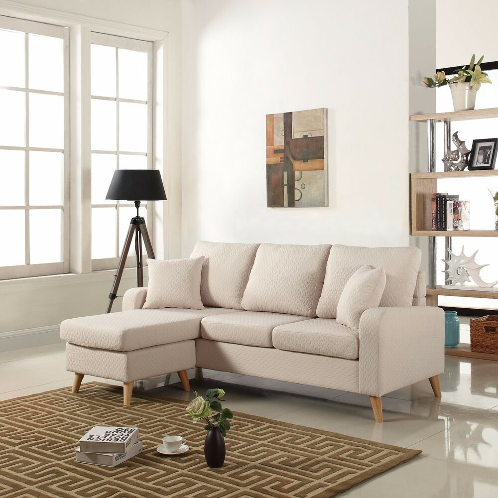 modern fabric small space sectional sofa w reversible chaise in beige ebay. Black Bedroom Furniture Sets. Home Design Ideas