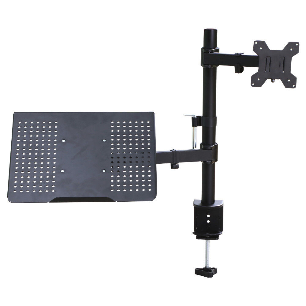 Monitor And Laptop Mount Fully Adjustable Desk Stand For