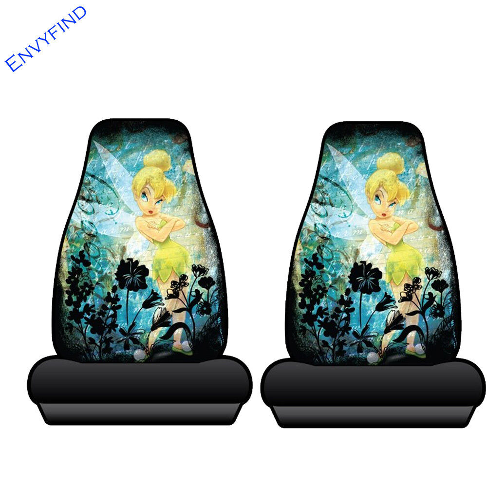 New 2 Front Seat Covers Disney Tinker Bell Moody Yellow