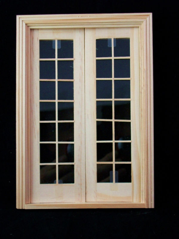 Door double french wooden dollhouse miniature 6011 1 12 for Purchase french doors