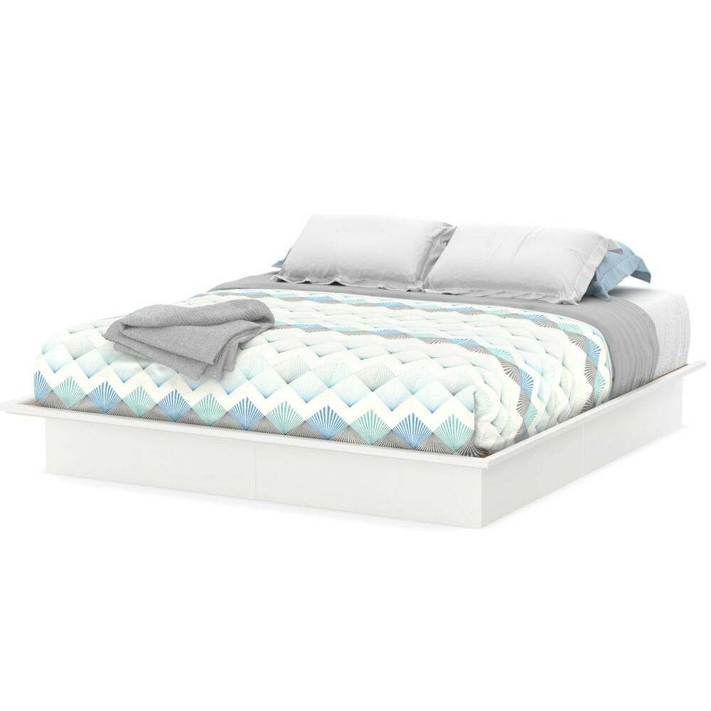Platform bed full queen king size sizes white color bedroom frame south shore ebay Mattress queen size