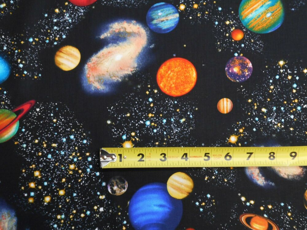 Space solar system stars planets galaxies on black by for Space fabric by the yard
