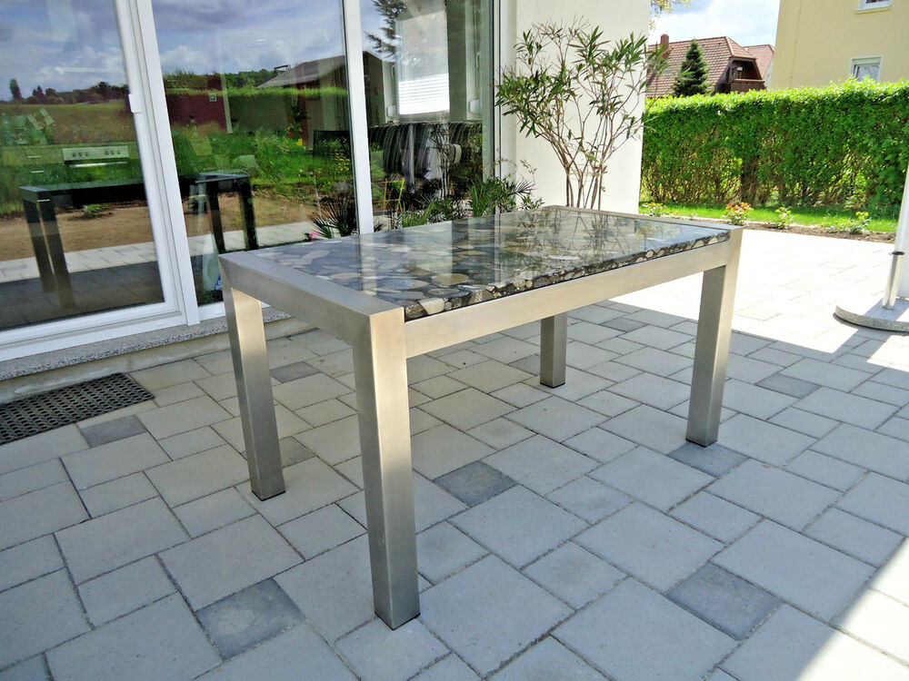 stabiler edelstahltisch esstisch gartentisch mit steinplatte kieseloptik granit ebay. Black Bedroom Furniture Sets. Home Design Ideas
