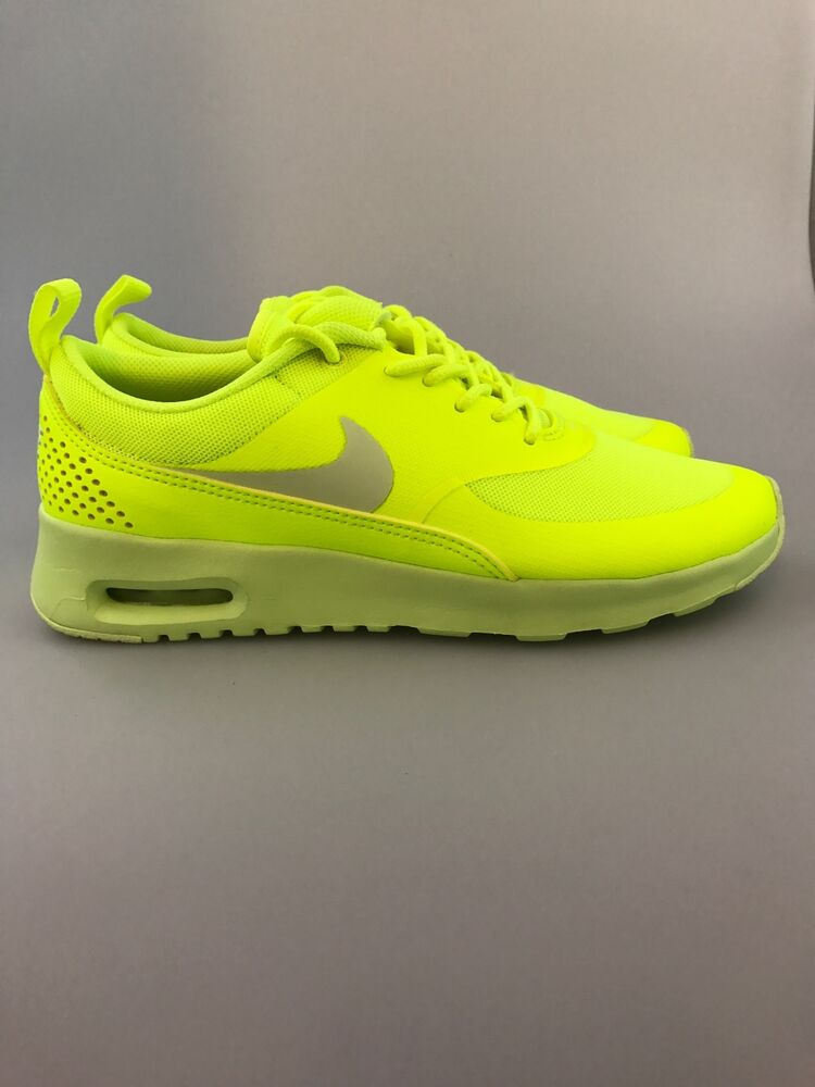 sports shoes 61890 472d6 lime green nike thea shoes