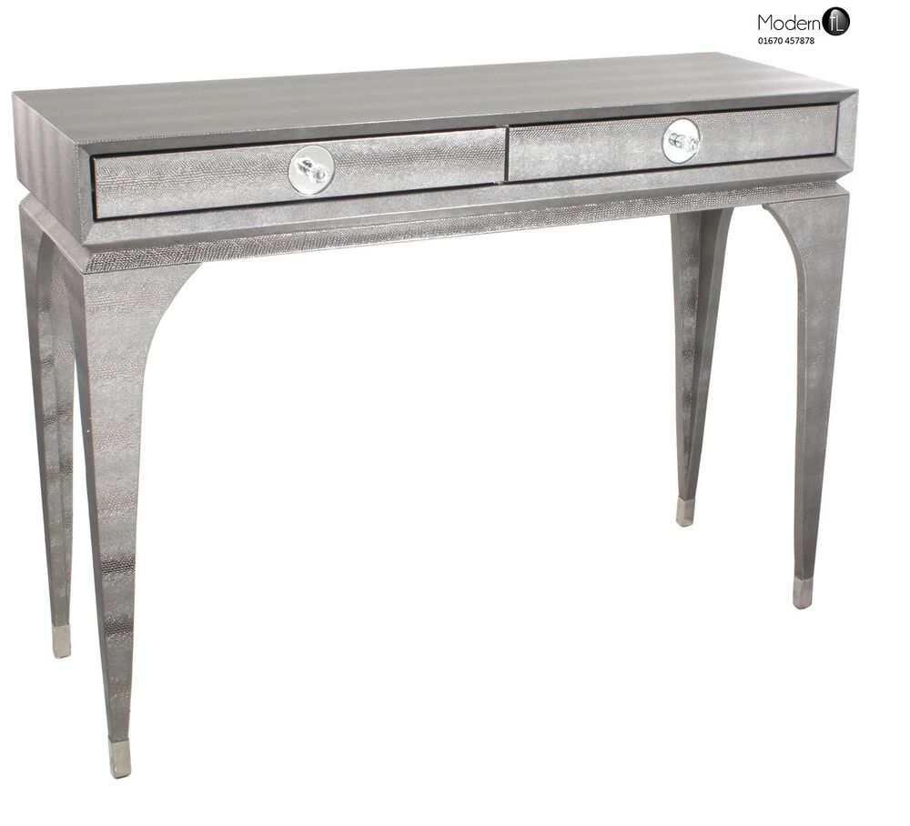 Modern grey faux snakeskin 2 drawer console table grey for Sofa table grey