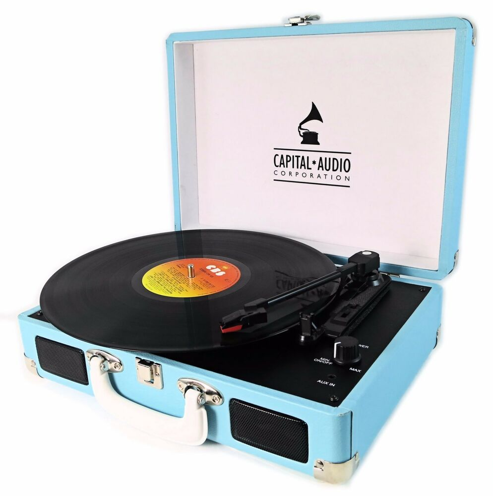 Capital retro sky blue vinyl record player suitcase briefcase attache turntab - Lecteur vinyle retro ...