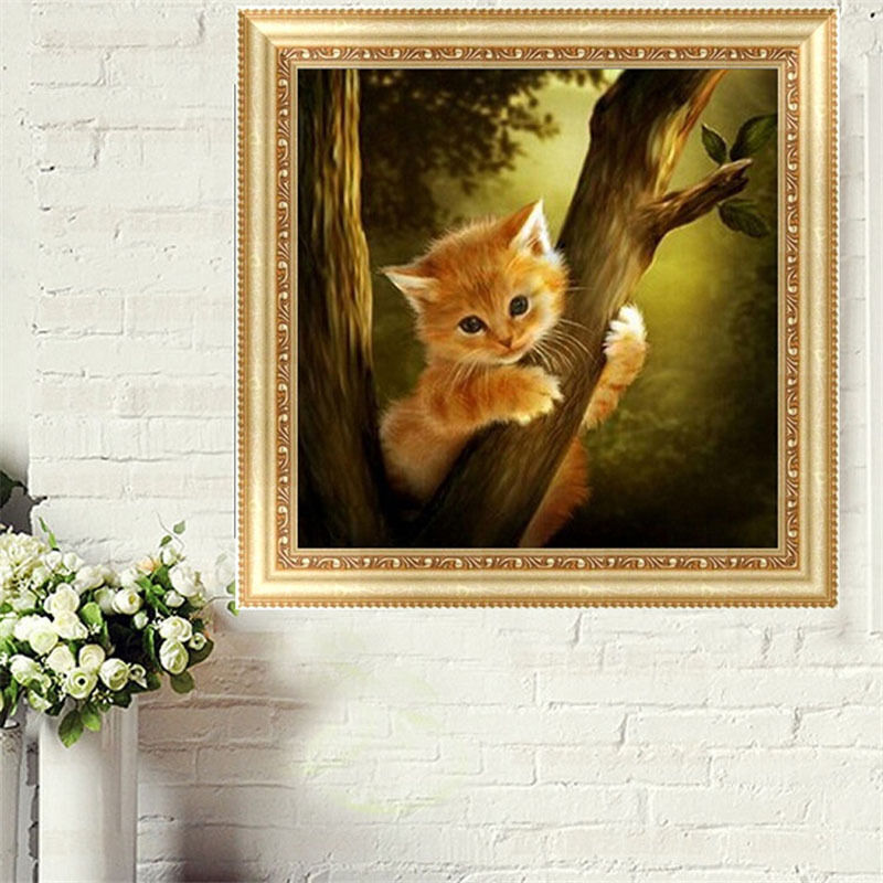 Diy 5d diamond embroidery naughty mosaic cat painting for Home decor 5d