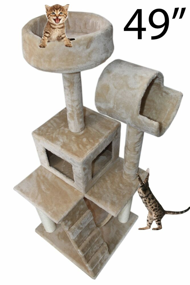 49 cat tree tower condo scratch post kitty pet house play. Black Bedroom Furniture Sets. Home Design Ideas
