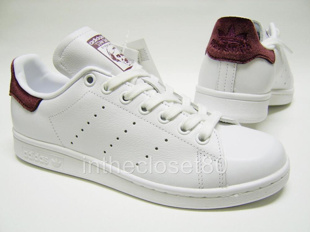 adidas stan smith white maroon burgundy red velvet womens girls trainers bb2867 ebay. Black Bedroom Furniture Sets. Home Design Ideas