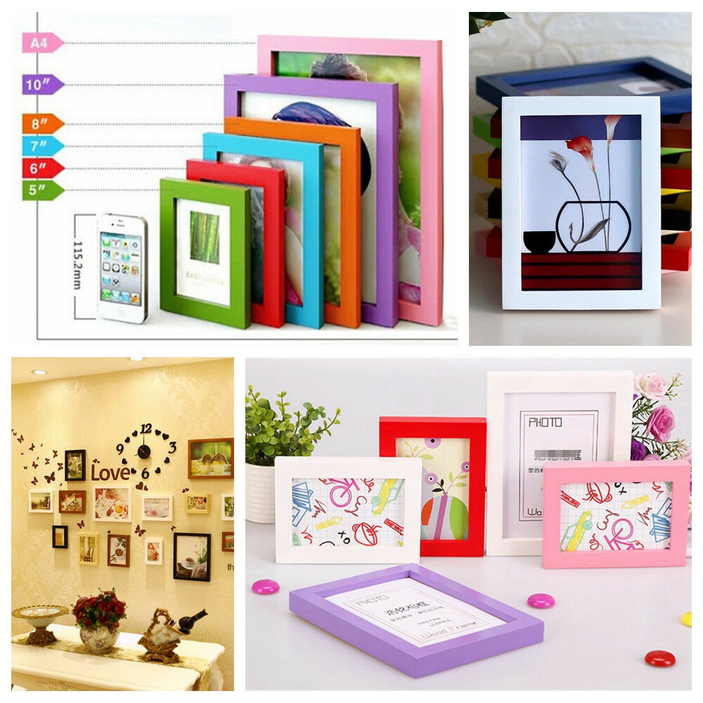 hot style a4 5 6 7 8 multi size room decor wooden picture photo wall frame ebay. Black Bedroom Furniture Sets. Home Design Ideas
