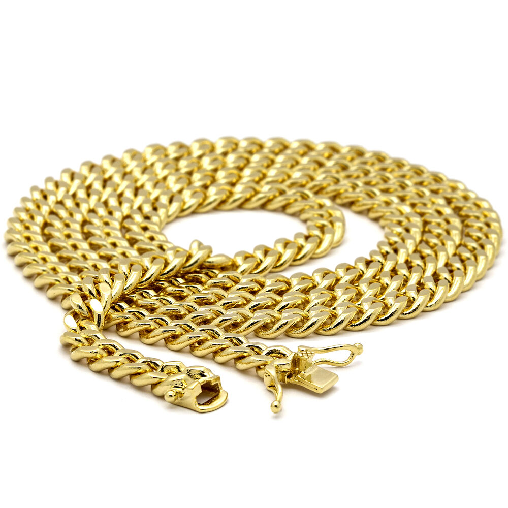mens 14k gold plated 6mm 24 quot 30 quot heavy thick clip