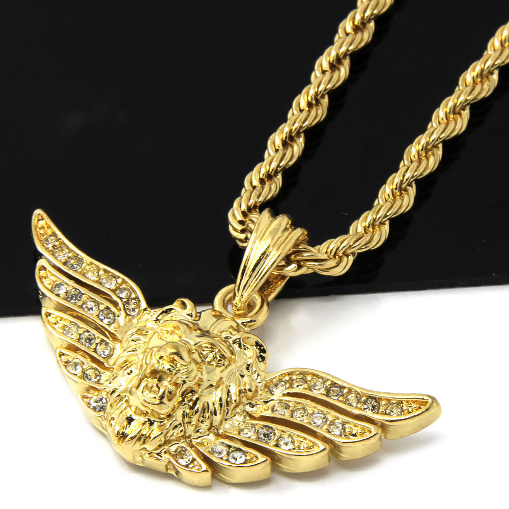 Mens 14k Yellow Gold Plated 24in Iced Out Long Wing Lion ...