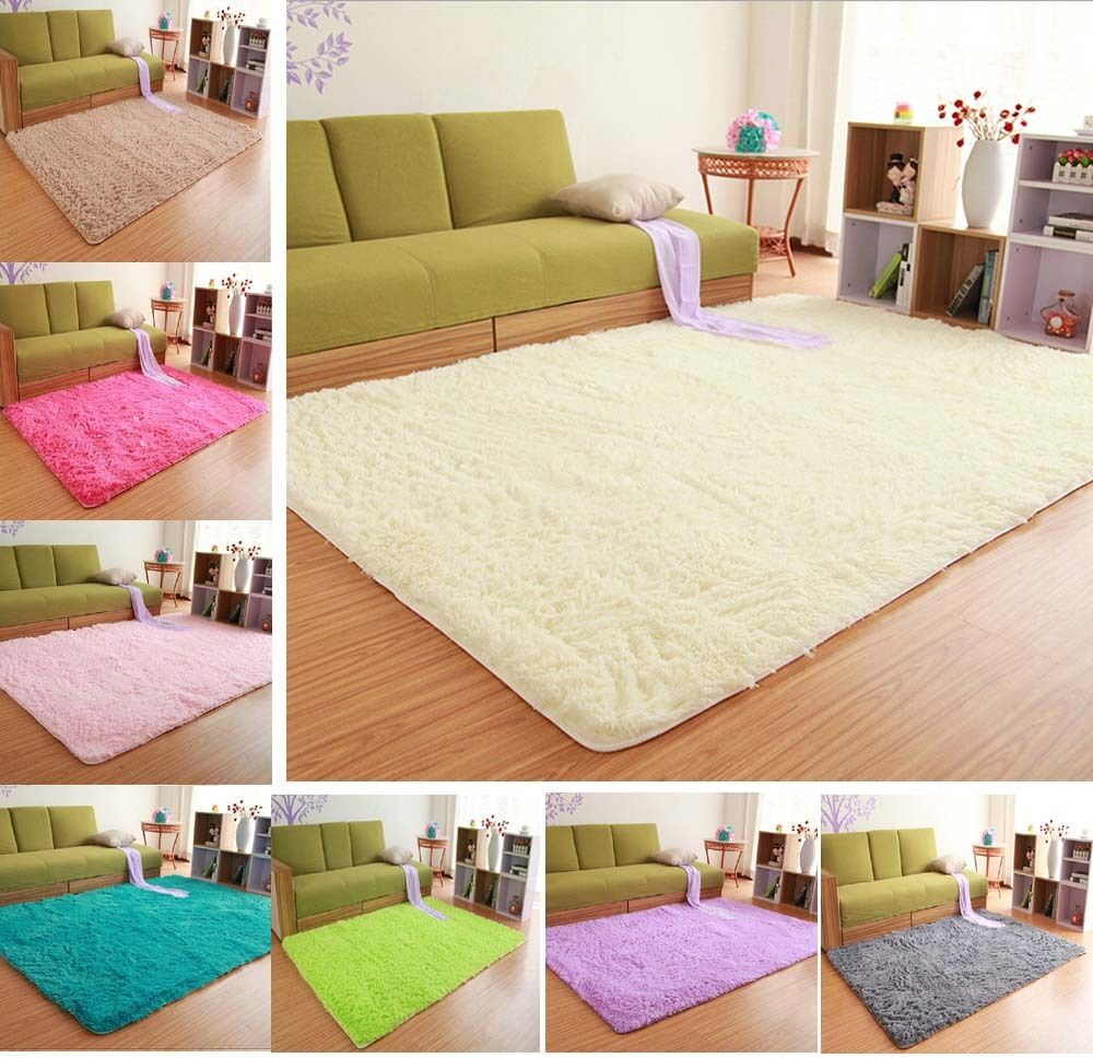 Solid small large size fluffy anti skid shaggy area rug for Small rug for bedroom