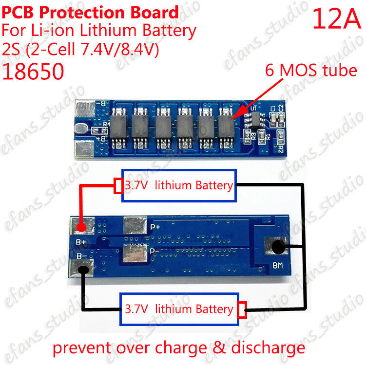 2s 12a Lithium Battery Bms Li Ion 18650 Protection Circuit