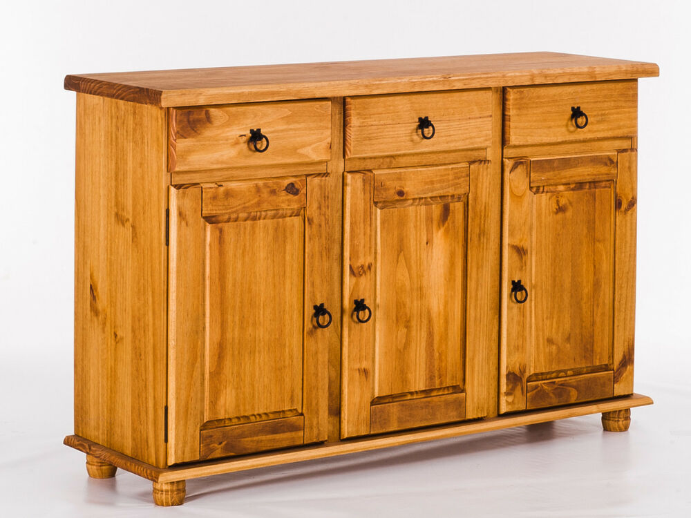 anrichte sideboard holz pinie massiv honig corona schrank. Black Bedroom Furniture Sets. Home Design Ideas