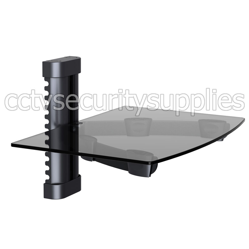 tempered glass rack shelf stand wall mount bracket tv dvr dvd cable box black ebay. Black Bedroom Furniture Sets. Home Design Ideas
